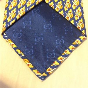 """846761b3aa6 Gucci Accessories - Vintage Gucci tie """"cleats rope"""" navy blue yellow"""